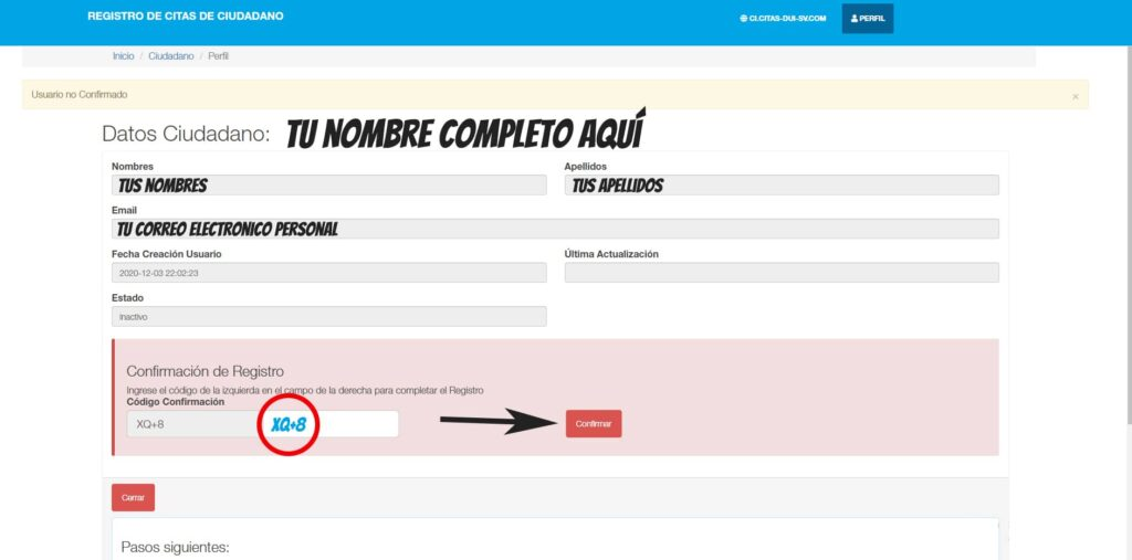 confirmar cuenta para sacar DUI warescript